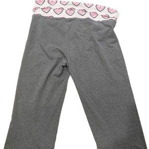PINK Victoria's Secret Gray Capri ☮️ Sign Pants L